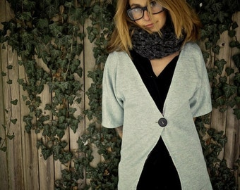 Organic Grey 3 4 Sleeve Cardigan Long Lined Sweater|Women's Sweater|Women's Grey Jumper|Plus Size Sweater|Layering Top|Oversized Sweater|