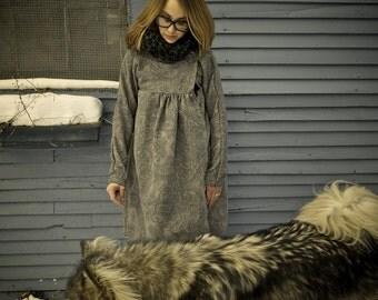 Women's Grey Paisley Asymmetrical Long Lined Coat with Pockets|Plus Size Coat|Vintage Coat|Maternity Coat|Winter Coat Women|Oversized Coat