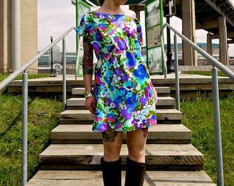 Off the Shoulder Vintage Floral Print Dress~Open Back Dress~Boat Neck~Day Dress~Party Dress~Casual Dress~Shift Dress~Empire Waist Dress~