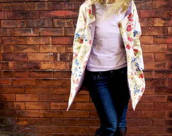Vintage Floral Fall Jacket~Women's Outerwear~Lined Coat~Fitted Coat~Long Coat~Cosy Sweater~Spring Coat~White Coat~Fall Fashion Women~