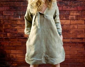 Grey Long Sleeve A Line V Neck Mod Dress with Pockets|Plus Size Dress|Maternity Dress|Oversized Dress|Loose Dress|Vintage Dress|Party Dress