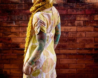 Mod Retro Printed Dress~Vintage Dress~Shift Dress~Short Sleeve Dress~Day Dress~Knee Length Dress~Eco Dress~Orange Dress~Mini Dress~Plus Size