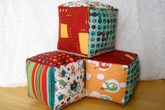 Cogsmo by Cosmo Cricket--Soft and Cuddly Fabric Jingle Baby Blocks