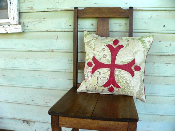 cushion pillow, reverse applique, red medieval