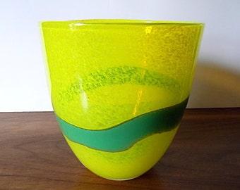 Vintage Yellow, Teal Swedish Art Glass Bowl, Vase