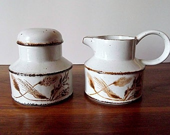 "Midwinter Stonehenge ""Wild Oats"" Creamer, Sugar Bowl, Brown and White, England"
