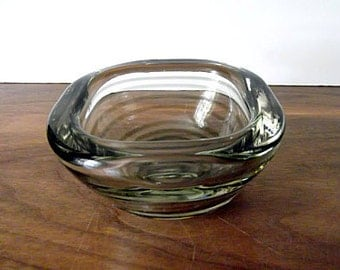 Midcentury Italian Art Glass Gray, Clear Spiral Bowl, Barbini Era, Seguso