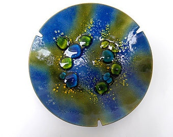 Vintage Modernist Enamel on Copper Dish, Tray,  Blue and Green, Signed MARCO