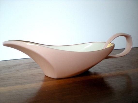 Modernist Pink Porcelain Gravy Boat, Eva Zeisel Style