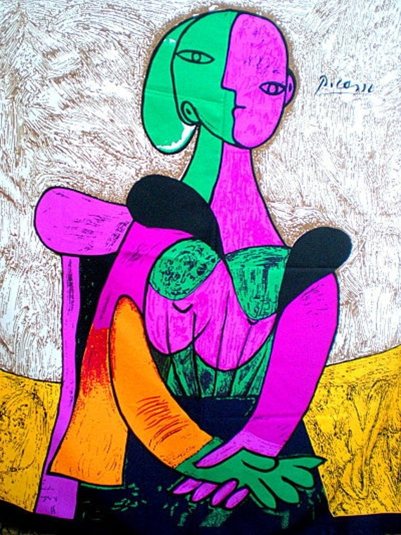 Vintage Picasso Silk Scarf Cubist Seated Woman