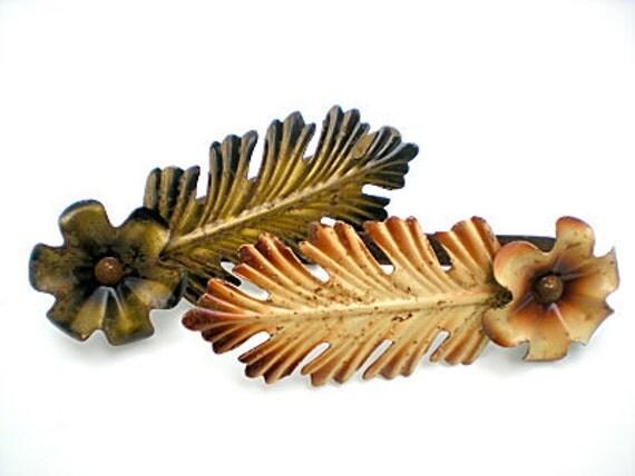 Vintage Curtain Tiebacks, Leaves, Flowers, Metal, Patina