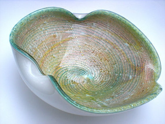 RESERVED FOR JACKIE -- Murano Barbini Glass Bowl, Green and Gold Aventurine