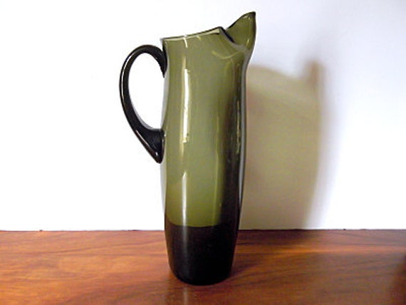 Vintage Green Glass Martini Pitcher, Holmegaard Style, Danish Modern