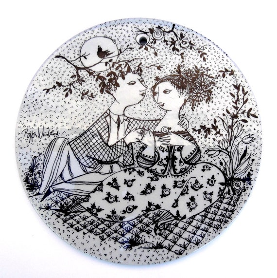 "RESERVED FOR SAMMI - Vintage Bjorn Wiinblad ""May Harmony"" Collector's Plate:  Nymølle, Black and White"