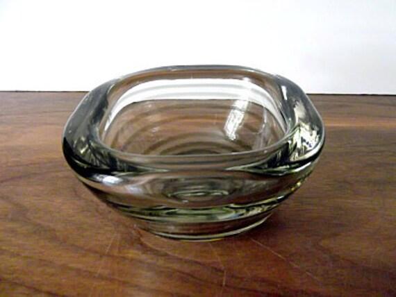 Midcentury Italian Art Glass Gray, Clear Spiral Bowl, Barbini Era, Seguso