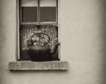 Country Window, Ireland Print, Black and White Photography, Minimalist Wall Art, Custom Artwork, Fine Art Photography,Digital Photo,Original