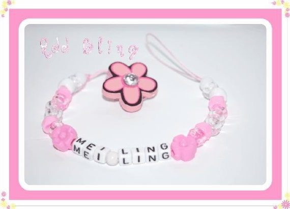 pink girl  flower bead dummy dummie pacifier holder with bling