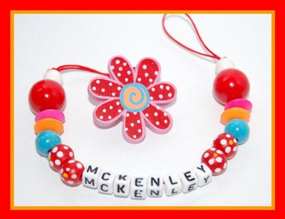 unique handmade personalized custom name  pacifier binkie binky clip attacher holders-----23