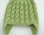 Baby Earflap Hat Knitting Pattern with cable design ADDISON