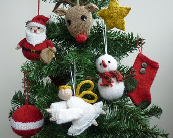 Christmas Knitting Pattern, Christmas Ornaments Pattern, Santa Knitting Pattern, PDF Pattern , Snowman Knitting Pattern, Reindeer Pattern