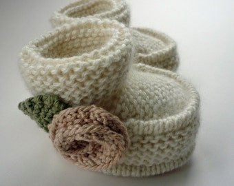 Baby Booties Knitting Pattern, Knit Booties Pattern, Baby Booties pdf, PDF Knitting Pattern, Baby Boots Download - LITTLE ROSE