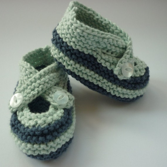 Hand knit organic baby shoes blue with navy stripe size 3 6