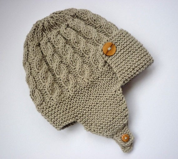 Knitting Patterns Baby Cable Hats : Baby aviator hat knitting pattern pdf with cable by LoveFibres