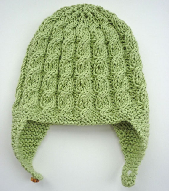 Free Knitting Patterns For Toddler Earflap Hats : Baby Earflap Hat Knitting Pattern with cable design by ...