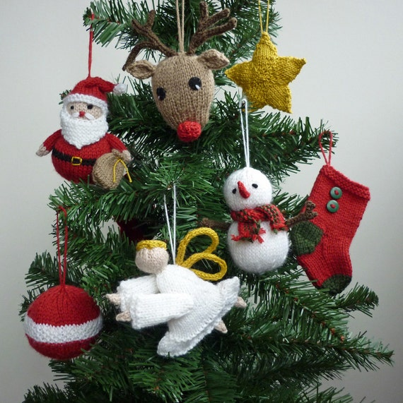 Christmas Ornaments Knitting Pattern, PDF Knitting Pattern , Christmas Knitting Pattern, Knit Christmas PDF, Knit Santa Pattern,