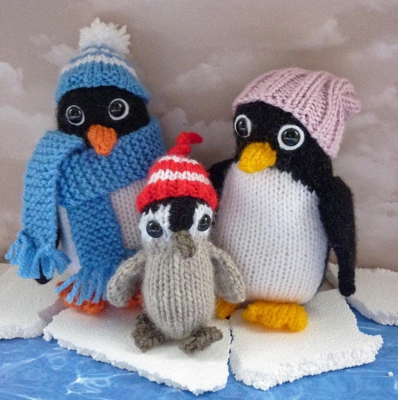 Penguin Knitting Pattern, PDF Knitting Pattern, Penguin Toy Pattern, Knit Pen...