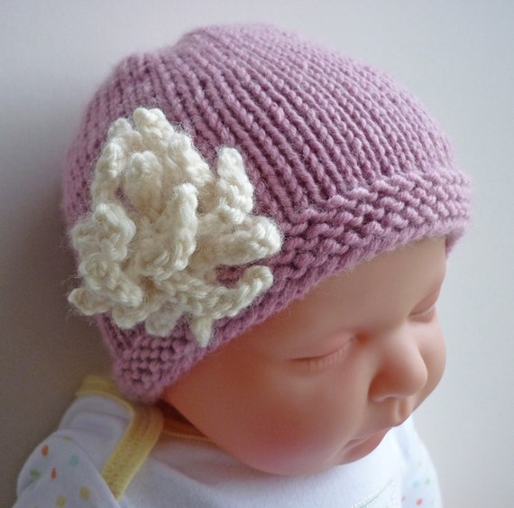 Knitting Pattern Baby Hat with flower AMELIA by LoveFibres on Etsy