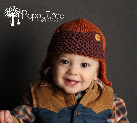Knitting Pattern For Baby Pilot Hat : Baby Aviator Hat Knitting Pattern CURTISS Instant by LoveFibres