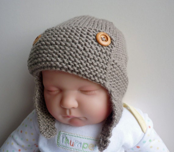 Baby Hats To Knit Free Pattern : Knitting Pattern Aviator Hat Baby to Child sizes by LoveFibres