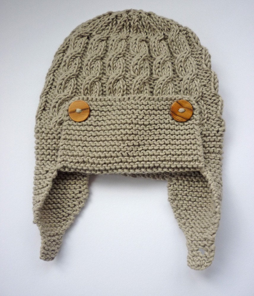 Aviator Hat Knitting Pattern : Baby Aviator Hat PDF Knitting Pattern Cabled by LoveFibres
