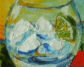 Gin Tonic 5x5 Inch Original Palette Knife Oil Painting by Paris Wyatt Llanso FREE SHIPPING