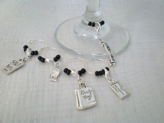 Set of 5 Shop till you drop wine charms / Free Shipping