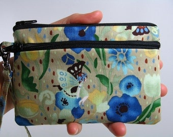 Flower fairy id wallet, small id wristlet, Coin purse, Credit card pouch