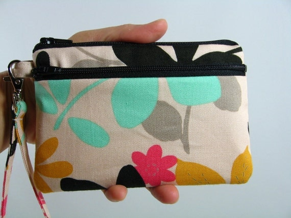 Small Wristlet --Flowers-- ID holder/Coin purse/Cell phone holder