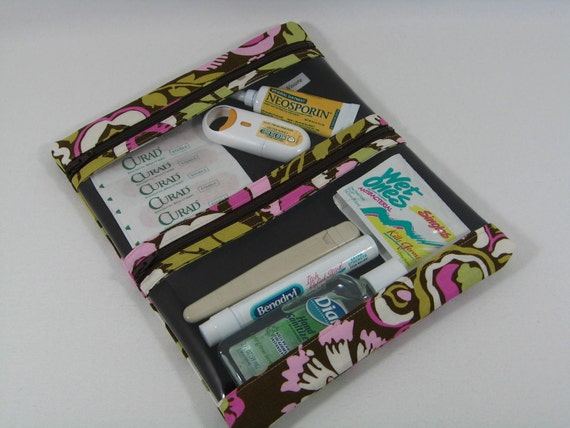 First Aid pouch with two clear zipper compartments-- Daisy Chain Deco Rose in Brown