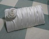 Bridal Silk Clutch - White Pearl Charmeuse Silk
