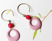 Pink enameled hoop earrings
