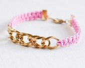 Pink Friendship Bracelet - gold plated shiny brass chain and macrame knots - rope jewelry - bangle - flamingo pink