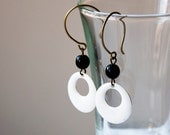 Enamel Earrings - White enamel hoop and black glass bead - enamel jewelry - dangle - drop earrings - black and white
