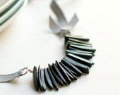 Necklace black coconut beads and grey Ribbon - Valentine gift