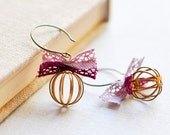 Romantic cages earrings with pink and purple lace bows - geometric earrings - dainty earrings - gold earrings - dainty jewelry