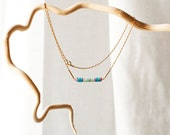 Sequins Necklace - Vintage European Sequins and Raw brass chain Choker - blue and fuchsia - Ocean blue
