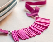 Coconut Necklace - fuchsia coconut beads and purple Ribbon - statement jewelry - eco friendly jewelry - strand necklace