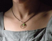 Necklace Hoops and Green Dyed Jade Bead - pendant necklace - Mother's Day Gifts