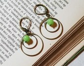 Hoop Earrings with green dyed jade beads