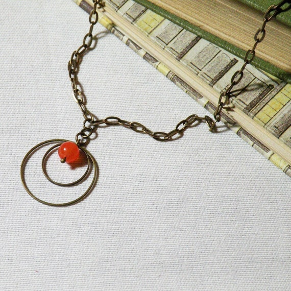 Necklace Hoops and Tangerine Jade Bead - Valentine gift